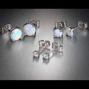 Jewelry - 18k gold plated 3 pairs of Opal stud earrings New